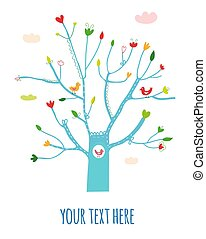 Greeting card with tree, flowers and birds illustration.