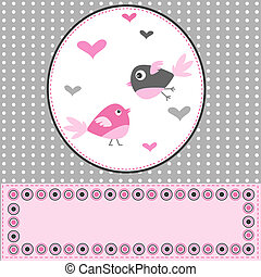 Greeting card with two birds in love