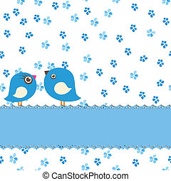 Greeting card with two cute birds on painting seamless background