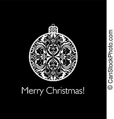 Greeting card with vintage christmas cut out ball with floral pattern