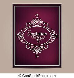 Greeting card with vintage frame on blurred dark violet background