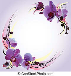 Vector gentle greeting card with branches of violet orchids
