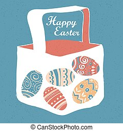 Greeting card with with Easter eggs. Easter basket.