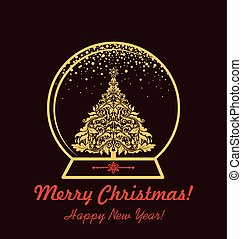 Greeting card with xmas gold globe