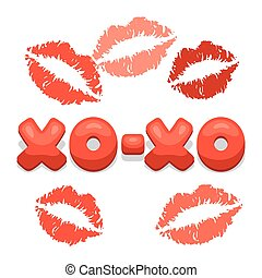 Greeting card with xo-xo and lips. Concept can be used for...