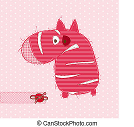 Greeting card with ZEBRA - for scrapbook, invitation, celebration with place for your text