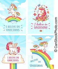 Greeting card writing design for girl with slogan I believe in unicorns . Rainbow colorful unicorn poster print vector