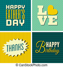 A set of four retro design greeting cards for various occasions.