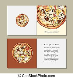 Greeting cards design with pizza sketch