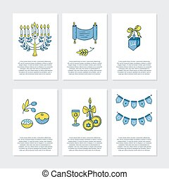 Greeting cards for Hanukkah - Vector set of greeting cards...