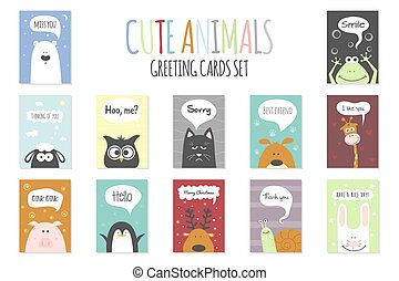 Greeting cards set - cute animals. Vector hand drawn template for party, scrapbooking etc.