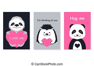 Greeting cards set - cute animals. Vector hand drawn template for Valentine s day party, scrapbooking etc.