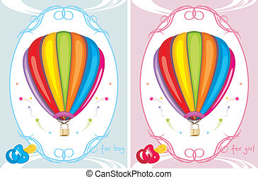 Greeting cards with air balloons