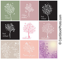 Greeting cards with beautiful tree