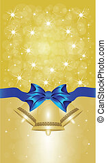 Greeting cards with blue bows. Vector illustration
