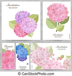Greeting cards with collection of beautiful flowers.