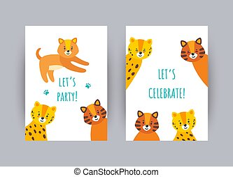 Greeting cards with cute animals. Vector illustration in flat style