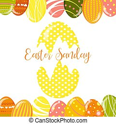 Greeting cards with cute Easter eggs