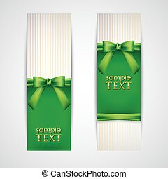 greeting cards with green bows and ribbons