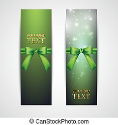 greeting cards with green bows