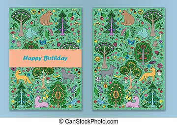 Greeting cardwith Wonderland Fun Forest