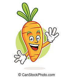 Greeting Carrot mascot, Carrot character, Carrot cartoon