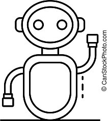 Greeting chat bot icon, outline style