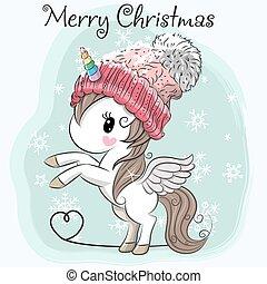 Cute Cartoon Unicorn in a hat