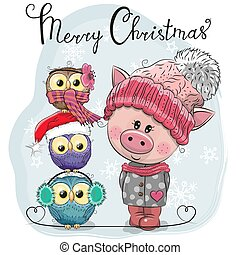 Greeting Christmas card Cute Pig and three Owls