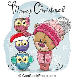 Greeting Christmas card Cute Teddy Bear and three Owls