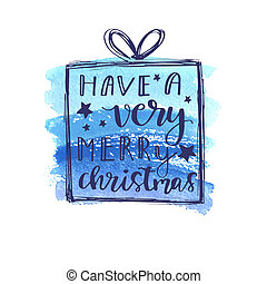Greeting Christmas card design with hand-drawn typography ...
