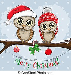 Greeting Christmas card Two Owls