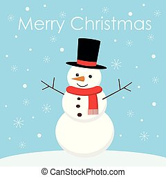 Greeting Christmas card with a cute snowman