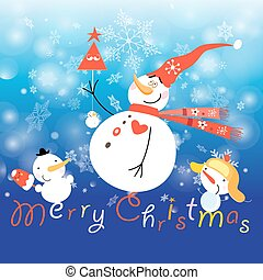 Greeting Christmas card with a snowman
