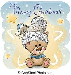 Greeting Christmas card with Cartoon Teddy Bear