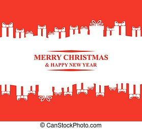 Greeting Christmas card with gifts