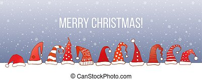 Greeting christmas card with red santa hats and snow on night background