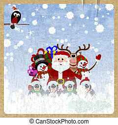 Greeting Christmas card with Santa Claus, reindeer, snowman, penguins and bullfinch on retro background
