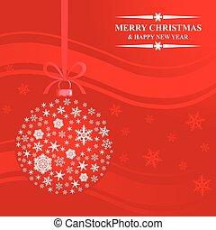 Greeting Christmas card with snowflakes ball