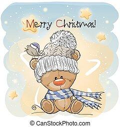 Greeting Christmas card with Teddy Bear