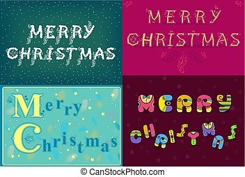 Christmas cards with texts by artistic font - Greeting...
