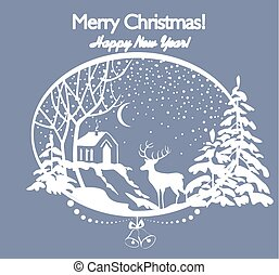 Greeting Christmas retro card with cut out paper winter landscape with firs, tree, deer, snow and house