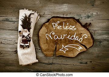Greeting Christmas Santa in spanish language - Greeting...