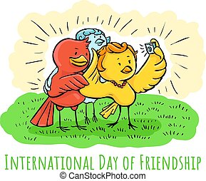 Greeting color card Birds Day of Friendship Selfie with friends