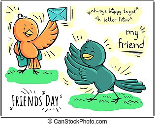 Greeting color doodle card Day of friendship - happy to get letter from my friend