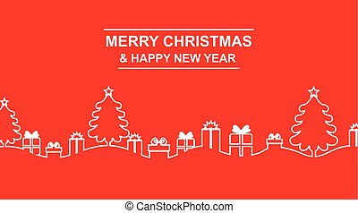 Greeting contour Christmas banner with fir and gifts