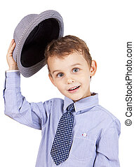 Greeting cool pretty stylish little boy isolated on white...