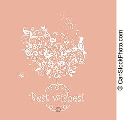 Greeting cute card with decorative