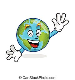 Greeting earth mascot, earth character, earth cartoon vector