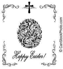 Greeting easter card with floral vintage egg shape (black and white)